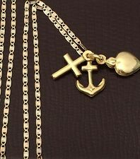 Religious 10k yellow Heart Cross Anchor Pendant 14k Gold Valentino chain 20 INcH