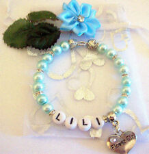PERSONALISED FLOWER GIRL PEARLS BRACELET ALL SIZES & COLOURS WEDDING BRIDAL