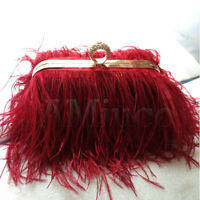 Luxury Ostrich Feather Bag Metal Chain Handbag Women's Evening Clutch Bag Purse