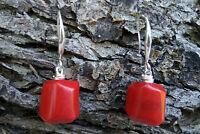 Pair Natural Red Coral 925 Sterling Silver Earrings Hook Dangle AAA Red Earrings