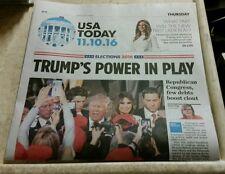 DONALD TRUMP WINS PRESIDENT ELECTION - USA TODAY NEWSPAPER 11/10/16