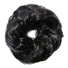 CHOUCHOU POSTICHE faux cheveux idéal rajout chignon BRUN sombre QUASI NOIR