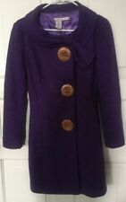 Y Apparel USA Purple Wool Blend Coat With Big Wood Buttons Women's Size Small