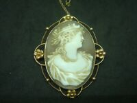 LARGE ANTIQUE GODDESS DIANA CARVED CAMEO SOLID 9CT GOLD BROOCH PIN