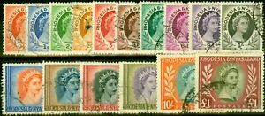 Rhodesia & Nyasaland 1954 Set of 16 SG1-15 Fine Used Stamps