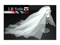 Wedding Veil Any Length Or Colour 2 Tier Plain Long Short Ivory LBV156 LBVeils