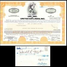Broker Owned Stock Certificate: S A Judah & Co, payee; United Air Lines, issuer
