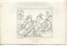 ANTIQUE BIBLICAL REBECCA AND ELIEZER AT WELL HORSE CAMEL CHRISTIAN OLD ART PRINT