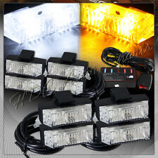 8 LED White & Amber Emergency Warn Hazard Grill Flash Strobe Light Universal 6