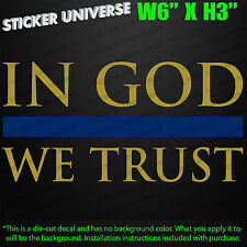 IN GOD WE TRUST Gold & Blue Thin Stripe Car Decal Sticker Police Cops Cop Jesus