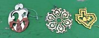 Lot of 3 Filigree Gold/Silver Christmas Ornaments: Holy Family, Flake, TX State