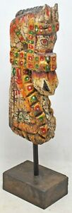 Hand Carved Hard Wood Horse Head Bust Figurine On Stand Hand Painted