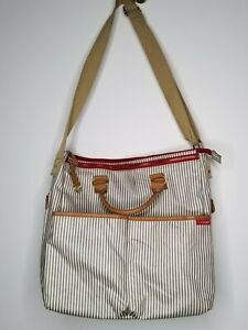 Skip Hop Messenger Diaper Bag/Tote Gray French Striped Multiple Pockets Classic