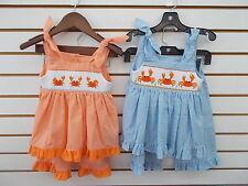 Infant, Toddler, & Girls Mom & Me 2pc Orange or Bue Smocked Sets Size 12mo - 6X