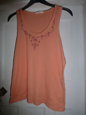 M&S CORAL VEST TOP WITH EMBROIDERY & SEQUIN TRIM SIZE 22
