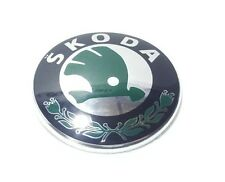SKODA BADGE GREEN/SILVER DIAMETER 90 mm HIGH QUALITY