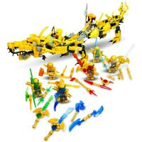 NINJAGO DRAGON CUSTOM DESIGN GOLDEN DRAGON MINIFIGS BUILDING BLOCKS- FITS LEGO
