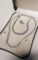 White gold finish created diamond earrings necklace bracelet and ring Valentines