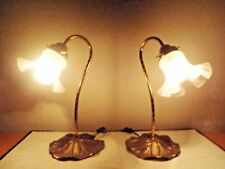 """LAMPS PAIR VINTAGE 15""""H FANCY TIFFANY STYLE LILLY POND GLASS & BRASS TABLE LAMPS"""