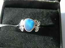 LOT 348 STUNNING BOULDER OPAL SOLID STERLING SILVER RING - SIZE J 1/2