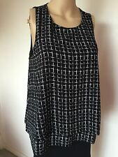 New Monteau top blouse black white sleeveless polyester lined L