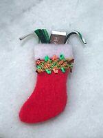 Miniature Dollhouse FAIRY GARDEN Accessories ~ Mini CHRISTMAS Red Felt Stocking