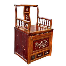 New listing Antique Chinese Late Qing Dynasty Inlaid Carved Ginkgo Wood Commode Chair