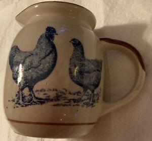 Stoneware Rooster & Hen Pitcher or Creamer Farmhouse Decor Blue Chickens