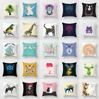 Polyester Cartoon Cat Deer Wolf Elephant Sofa Decor Pillow Case Cushion Cover