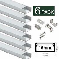 16mm LED Light Strip Channel Wide 6-Pack Aluminum Mount Extras Phillips Hue Plus