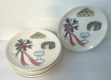 "Set of 8 Vintage Del Coronado Nasco Wine Cheese Snack Plates Japan 6"""
