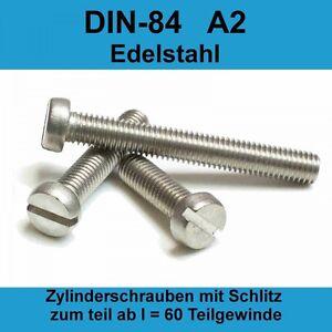 M2 DIN 84 A2 V2A Edelstahl Zylinderschrauben Zylinderkopfschrauben mit Schlitz