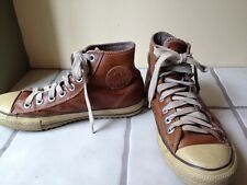 Converse High Tops Chuck Taylor All Star Brown Tan Leather Shoes Size US 9 Mens