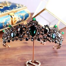 6cm High Adult Emerald Green Black Crystal Tiara Crown Wedding Pageant Prom