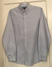 Men's Banana Republic Blue & White Striped Button Down Dress Shirt Size M