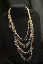 """STUNNING GRAZIANO 4 STRANDS GOLD TONE FAUX CRYSTAL STATEMENT NECKLACE 18"""" NIB"""