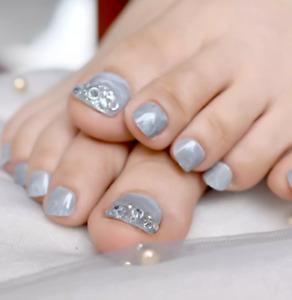 24Pcs Fashion Rivet Short False Fake Toe Nails Tip Toes Nail Art Tool Artificial