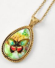 BUTTERFLY flower pendant necklace yellow green rust silver tone gardening New