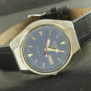 OLD VINTAGE SEIKO 5 AUTOMATIC JAPAN MENS DAY/DATE WATCH 457d-a229262-9