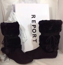 NEW REPORT Faux Fur Black Suede Leather Boots Womens Size 8 Warm Winter Shoes