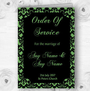 Green Black Damask & Diamond Personalised Wedding Double Cover Order Of Service