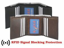 RFID Men's Genuine Leather Trifold Wallet Brown 6 Credit Card slots ID window