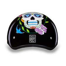 Women's Half Shell Helmet Motorcycle Helmet Daytona Low Profile Sugar Skull