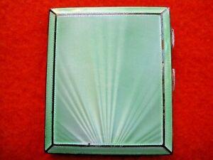 Sterling Silver cigarette case guilloche technique enamel English Birmingham1934