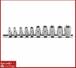 """Jeu 10 douilles femelles Torx tailles de E4 à E16 - Carré 1/4 et 3/8"""""""