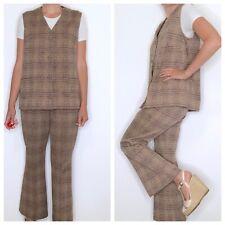 Vintage High Waist Flare Leg Pants and Vest Top Brown Plaid M/L 1970s Set MOD
