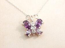 Jewellery - Sterling Silver, Amethyst & CZ Butterfly Pendant - Deceased Estate