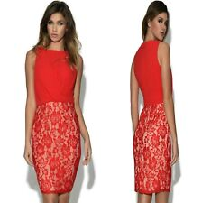 Sz 10 12 Red Chiffon Lace Sleeveless Cocktail Party Formal Prom Sexy Mini Dress