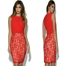Sz S 8 10 Red Chiffon Lace Sleeveless Cocktail Party Formal Prom Mini Dress