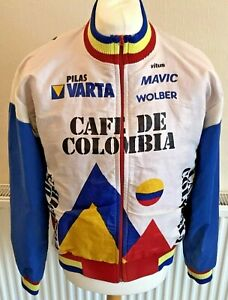 """Vintage 1980s Colombia Cycling Jacket Zipped Chest Approx 44"""""""